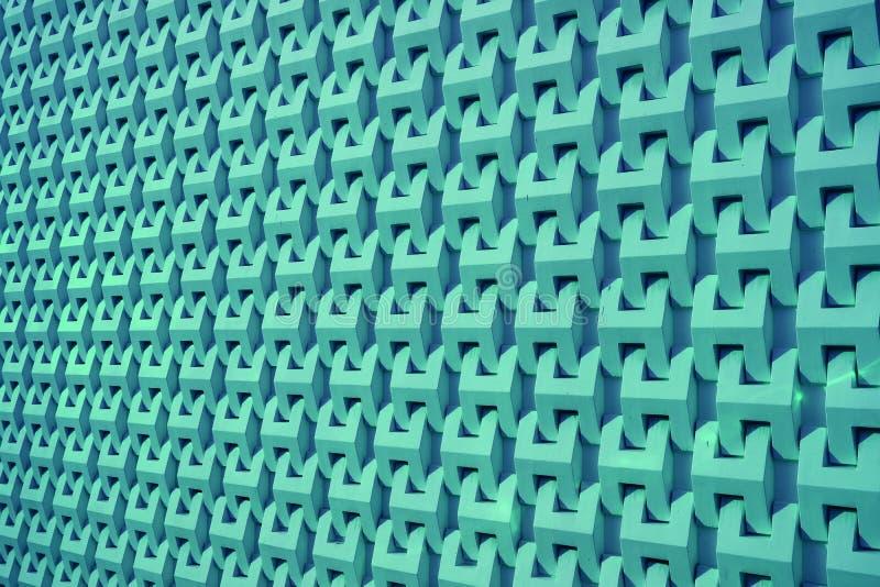 Azules turquesa que construyen la pared externa del modelo decorativo en perspectiva de disminución fotos de archivo libres de regalías