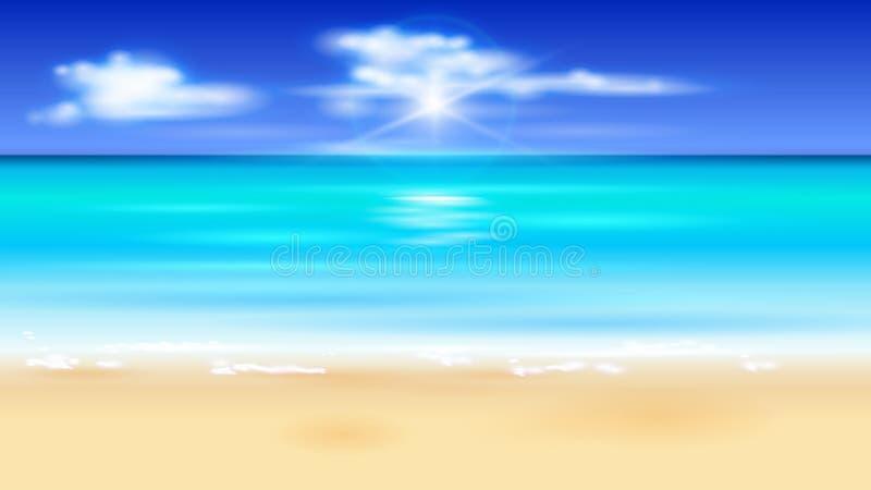 Azurblauer Ozean, blauer Himmel mit weißen flaumigen Wolken, weißer Sand lizenzfreie abbildung
