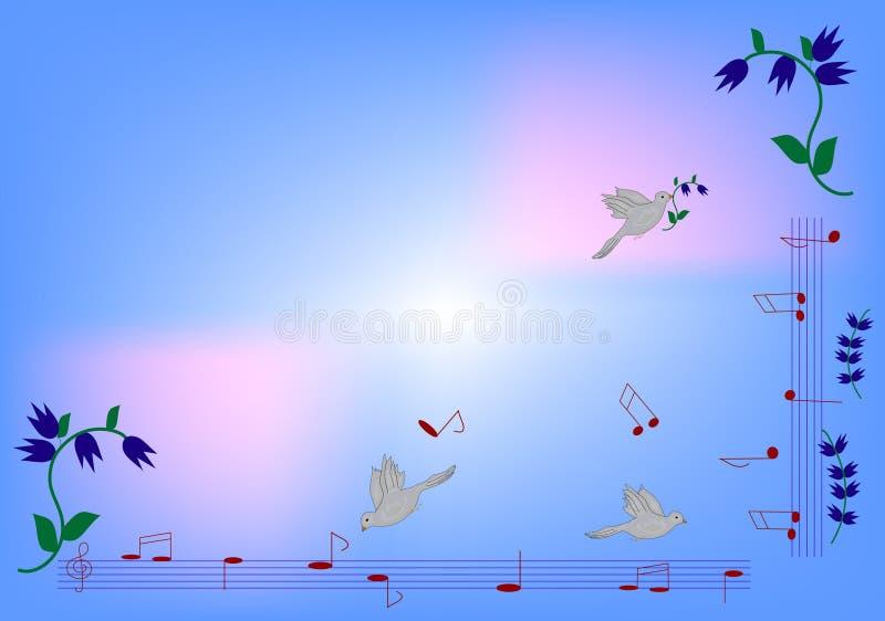 Azure background. Note and bird on azure background stock illustration