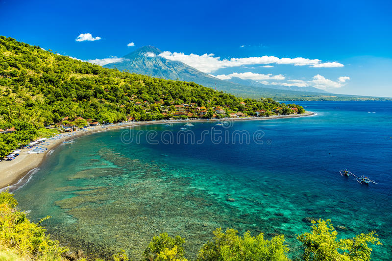 Azure beach Amed. 20 Jule - Indonesia, Bali. Azure beach Amed royalty free stock images