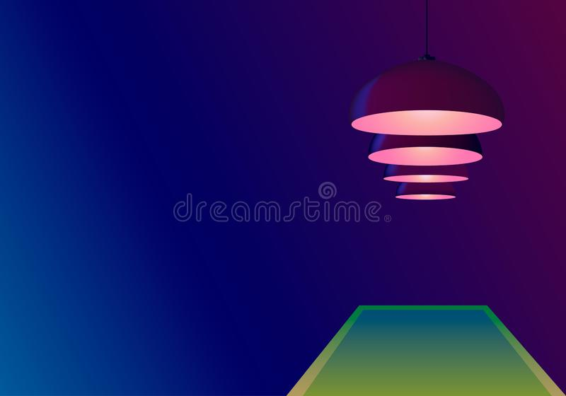 Azure blue background with pool table and burgundy ceiling lamps. Bulbs hang in a row. Copy space for text. Vector illustration. The concept of a billiard game stock illustration