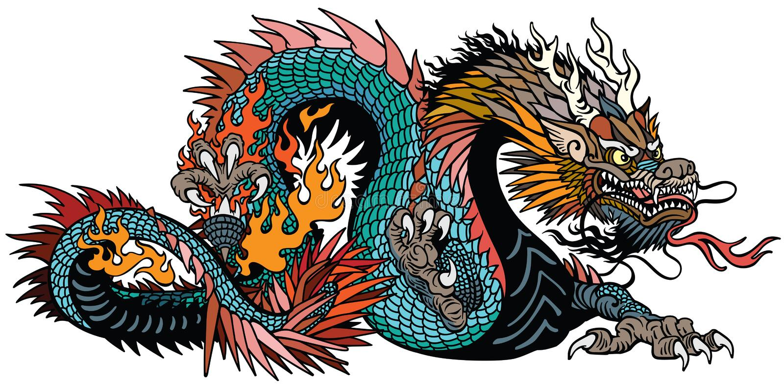 Azure Chinese dragon isolated on white. Azure also blue green Chinese dragon. Asian and Eastern mythological creature. Isolated tattoo style vector illustration vector illustration