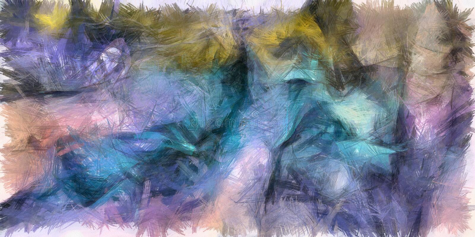 Azure colors. Colorful Abstract Painting Blue Azure Brush Strokes vector illustration