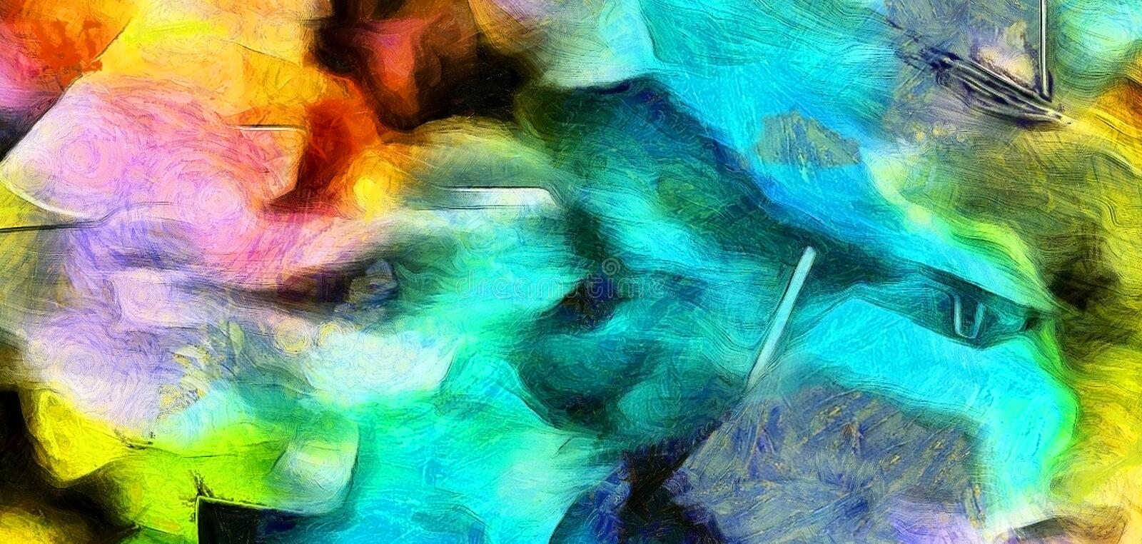 Azure Colors. Colorful Abstract Painting. Wide brush strokes. Azure Colors stock illustration
