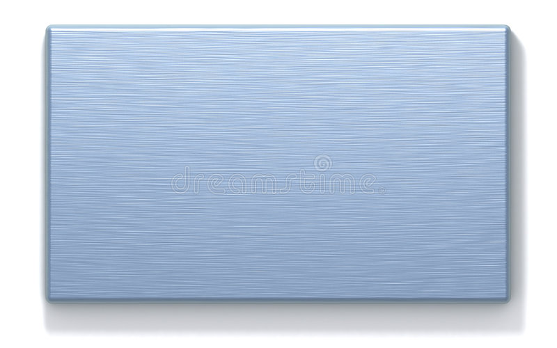Azure metal rectangular plate. 3D rendered metal plate with machined surface. Computer-generated texture, azure color. Isolated element for design royalty free illustration