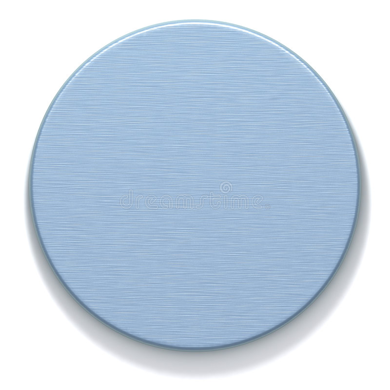 Azure metal round plate. 3D rendered metal round plate with machined surface. Computer-generated texture azure color. Isolated element for design stock illustration