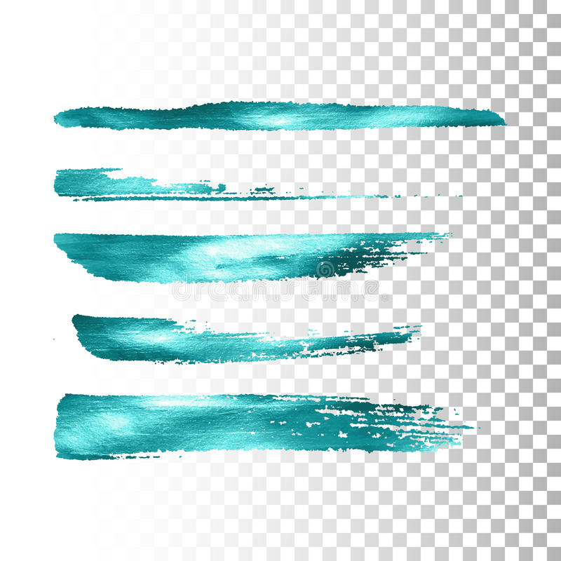 Azure metallic paint brush stroke set. royalty free illustration