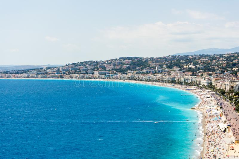Azure shore in nice royalty free stock photography