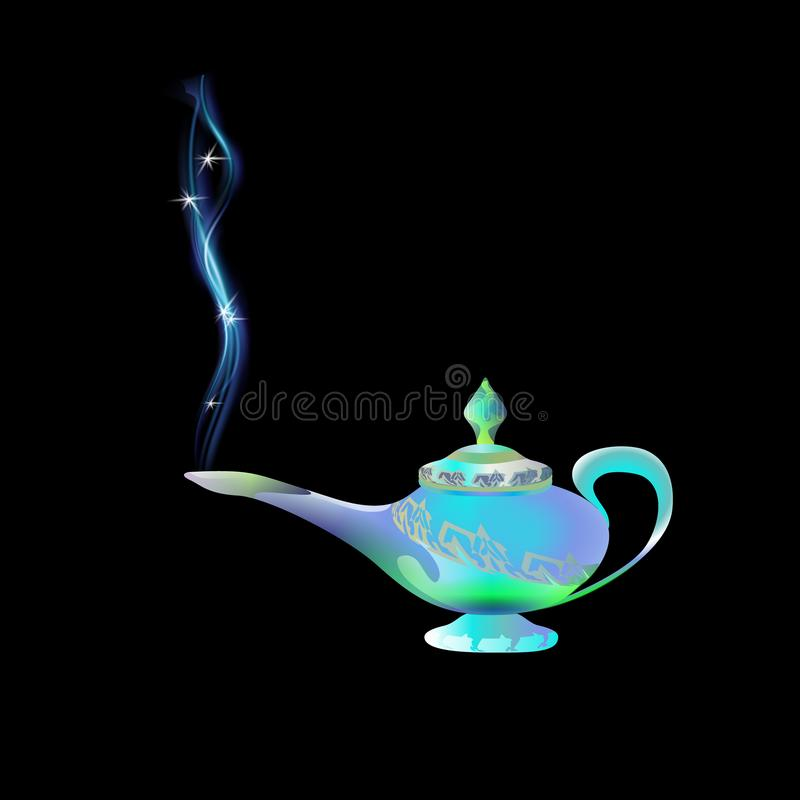 Azure, turquoise magic lamp on background black. Tale. Arabian Fairy tale. Wealth concept. Cartoon vector illustration light blue vector illustration