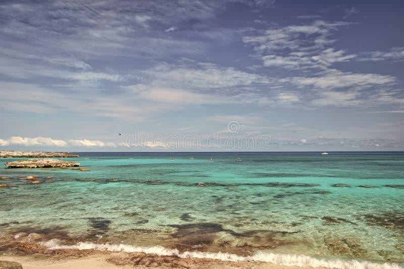 Azure water Great Stirrup Cay Bahamas. Enjoy rest Bahamas. Turquoise ocean waves at coast of Bahamas. Resort cruise. Recreation best vacation ever. Paradise on royalty free stock image