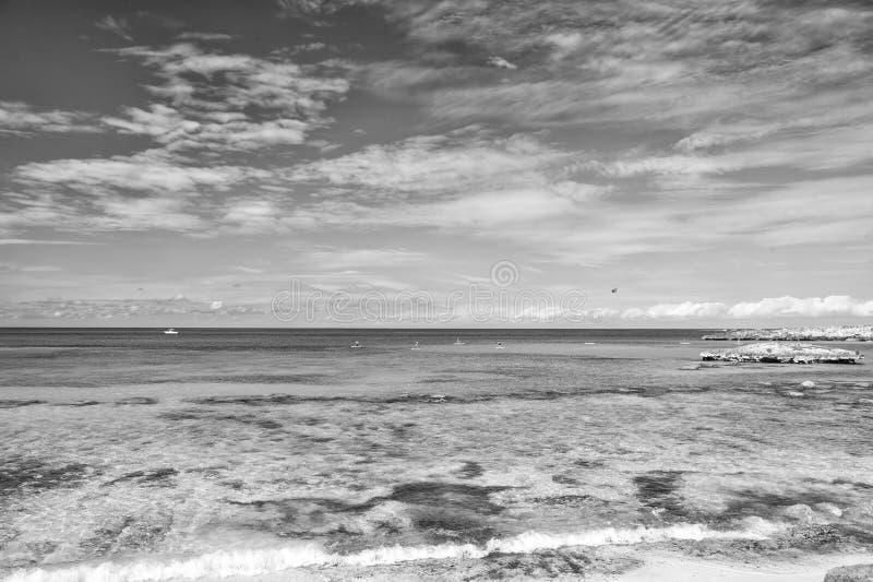 Azure water Great Stirrup Cay Bahamas. Enjoy rest Bahamas. Turquoise ocean waves at coast of Bahamas. Resort cruise. Recreation best vacation ever. Paradise on stock photos