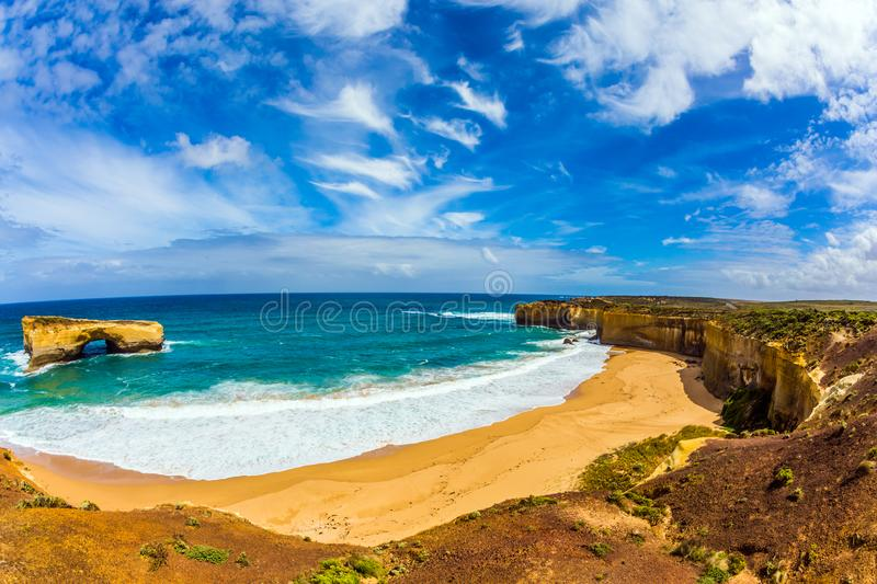 Azure water of small beach. The Great Ocean Road of Australia. Azure ocean water of small beaches on the Pacific coast. The concept of exotic, active and photo royalty free stock photos