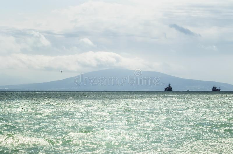 Azure waves of the Black Sea on a summer day, Russia, Krasnodar royalty free stock photos