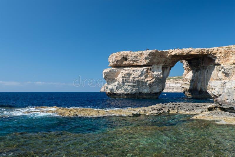 Azure Window - arco naturale sull'isola di Gozo fotografia stock libera da diritti
