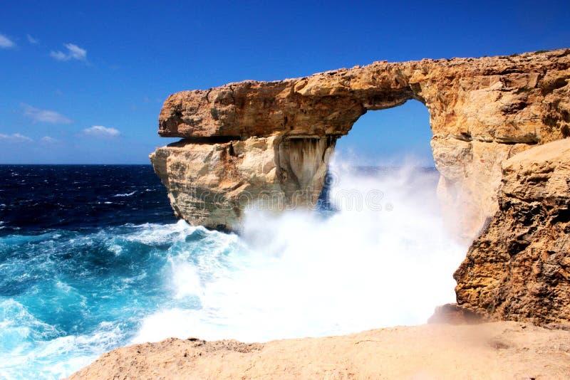 Azure Window in Gozo, Malta. Rough seas at beautiful Azure Window in Gozo, Malta stock photography
