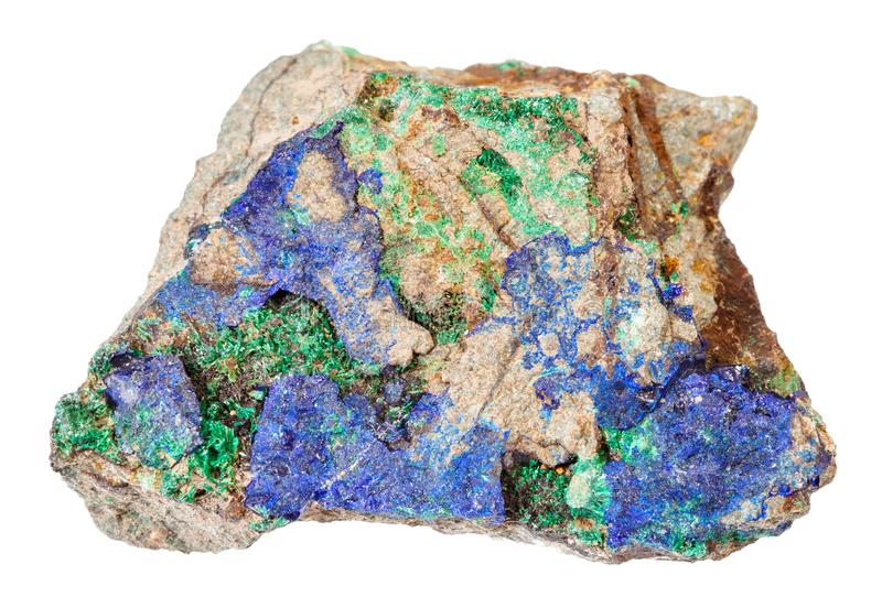Azurite bleue et malachite verte à la pierre d'isolement photographie stock