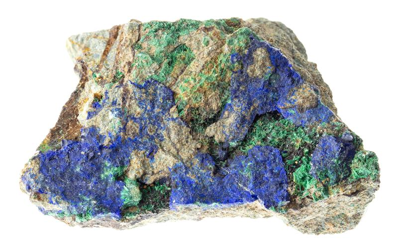 azurite et malachite crues sur la pierre sur le blanc images stock