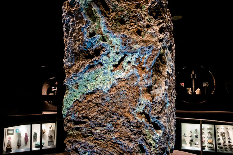 Azurite and Malachite Stone at the American museum of Natural History AMNH - New York, USA royalty free stock photos