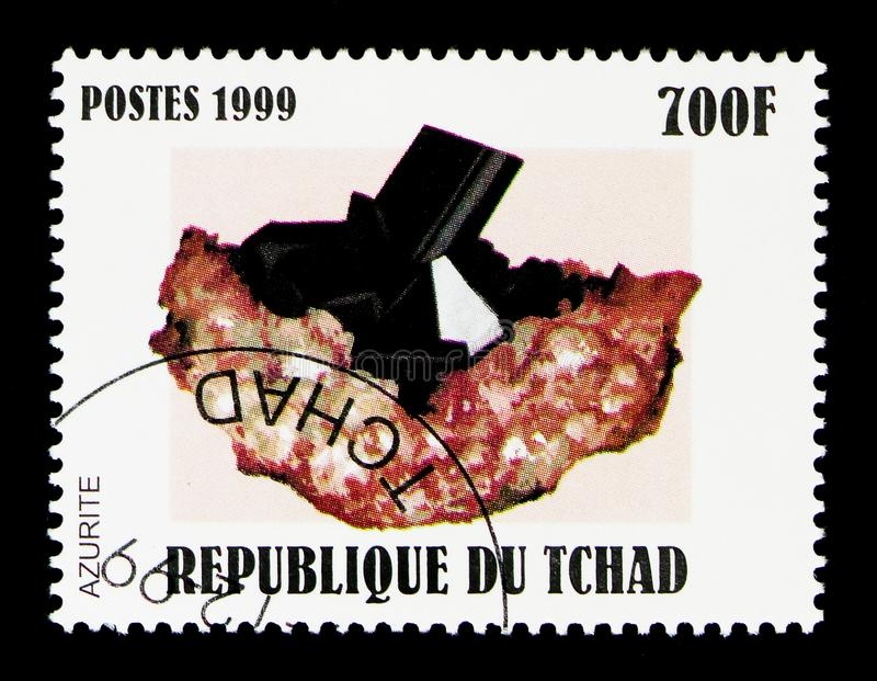 Azurite, Minerals serie, circa 1999. MOSCOW, RUSSIA - DECEMBER 21, 2017: A stamp printed in Chad shows Azurite, Minerals serie, circa 1999 royalty free stock image