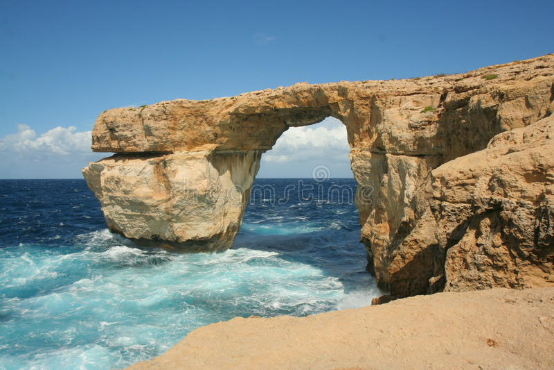 Azuurblauw Venster, Gozo royalty-vrije stock foto's