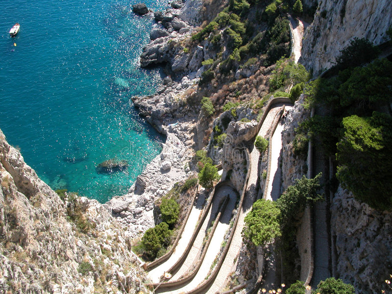 Azuurblauwe Daling Capri royalty-vrije stock fotografie