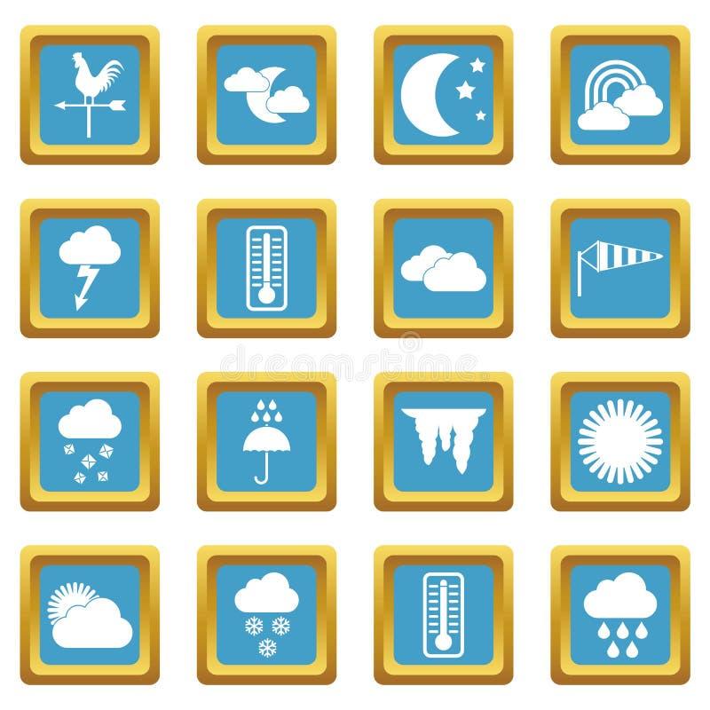 Azuurblauwe weerpictogrammen stock illustratie