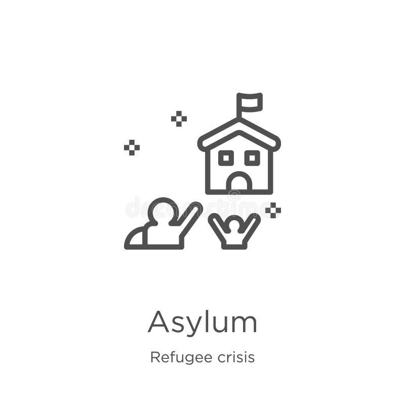 azyl ikony wektor od uchodźcy kryzysu kolekcji Cienka kreskowa azylu konturu ikony wektoru ilustracja Kontur, cienieje kreskowego ilustracja wektor