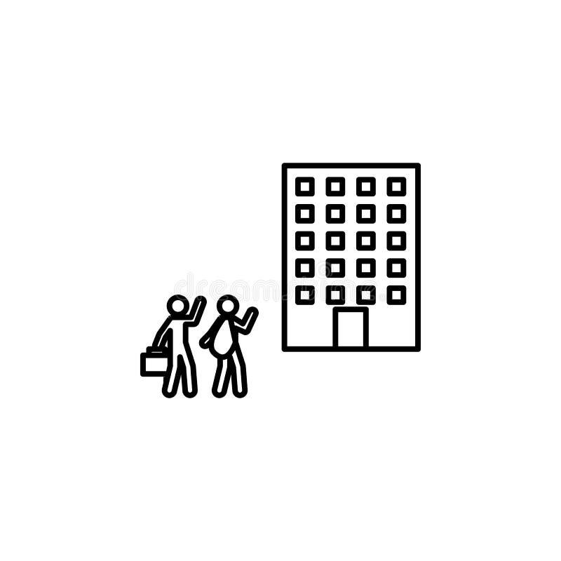 azyl, schronienie, settelement ikona Element ogólnospołeczny problem i uchodźca ikona Cienka kreskowa ikona dla strona internetow royalty ilustracja