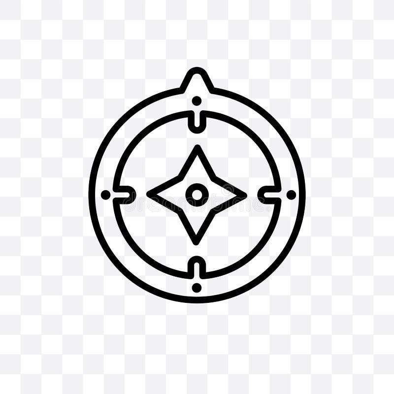 Azymutalnego kompasu wektorowa liniowa ikona odizolowywająca na przejrzystym tle, Azymutalnego kompasu przezroczystości pojęcie m royalty ilustracja