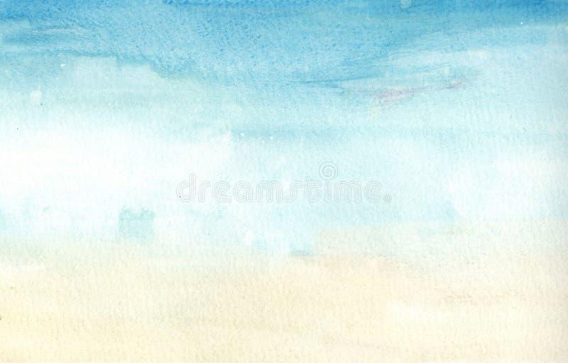 Azzurri fatti a mano della luce dell'illustrazione e fondo giallo-chiaro dell'acquerello Pittura dell'acquerello illustrazione vettoriale