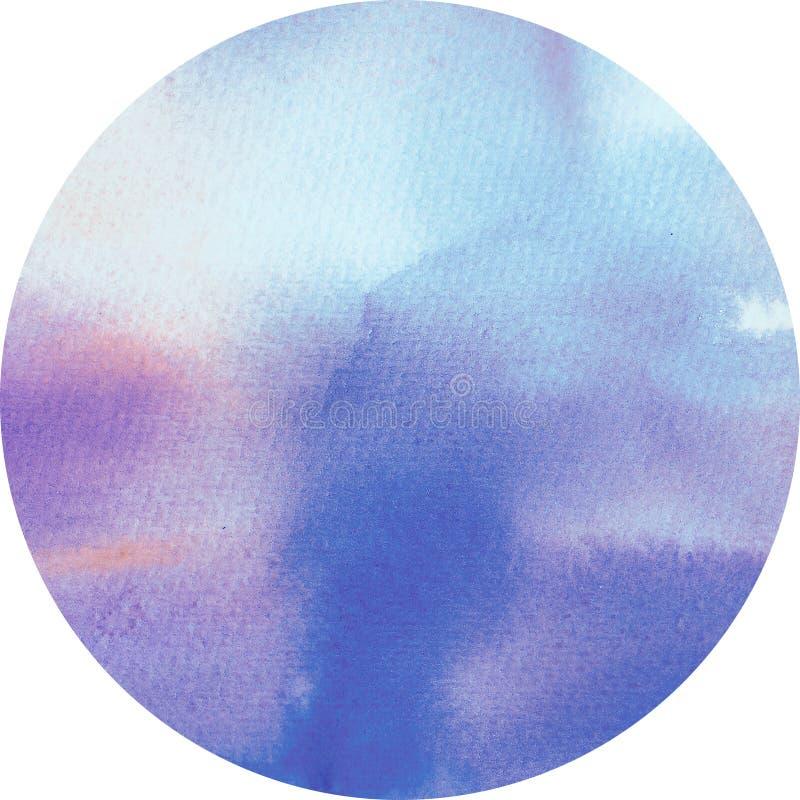 Azzurri, rosa di alba e di tramonto, inchiostro blu crepuscolare e struttura rotonda vaga dell'acquerello Dipinto a mano sulla ca illustrazione di stock