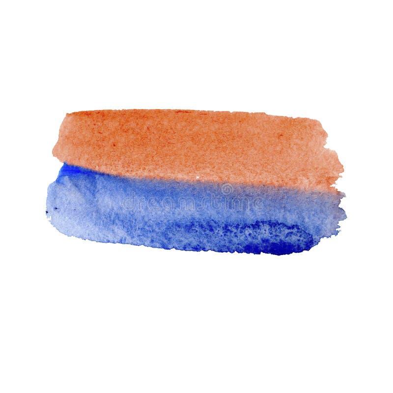 Azzurri variopinti e strutture arancio dell'acquerello sul fondo di Libro Bianco Cielo e mare Illustrazione astratta dipinta a ma illustrazione di stock