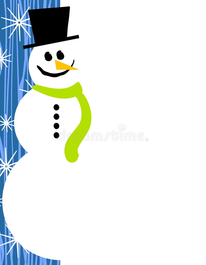 Azzurro del bordo della pagina del pupazzo di neve illustrazione di stock