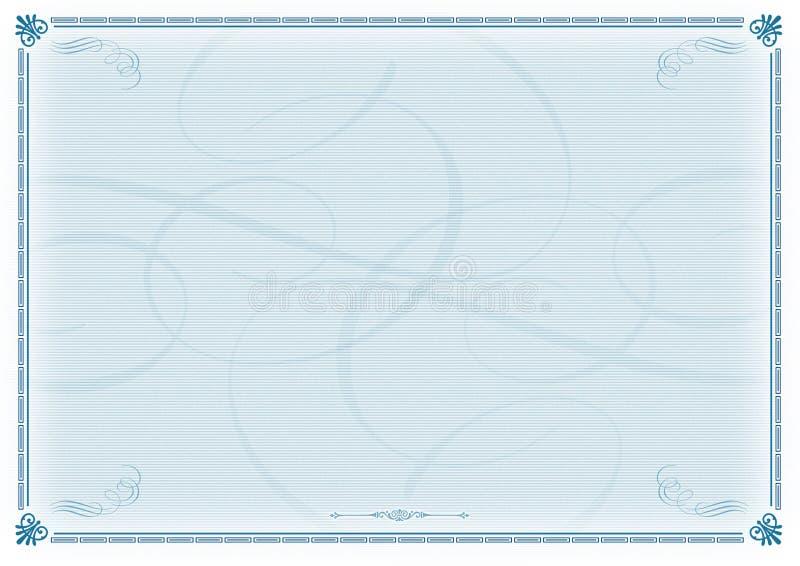 Azzurro del modello del certificato illustrazione di stock