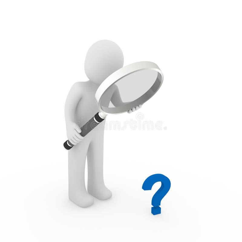 azzurro del punto interrogativo della lente d'ingrandimento 3d illustrazione di stock