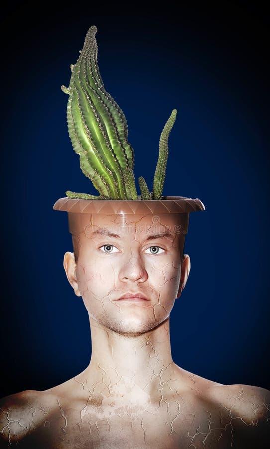 Azzurro dell'uomo del cactus fotografia stock