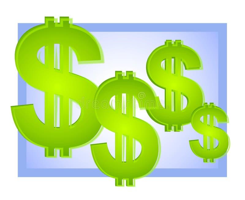 Azzurro della priorità bassa dei segni del dollaro illustrazione di stock