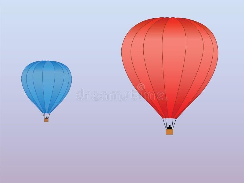 Azzurro rosso degli aerostati di aria calda illustrazione vettoriale