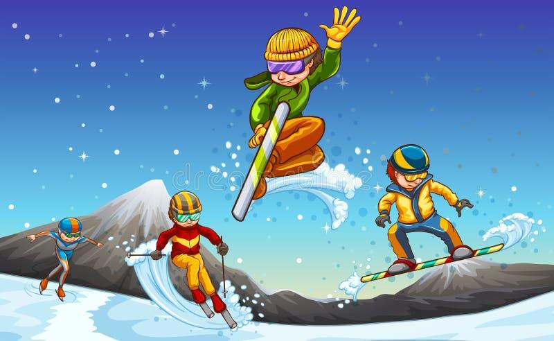 Azzurro, scheda, pensionante, imbarco, esercitazione, estremo, divertimento, cervo volante, kiteboard, kiteboarding, kitesail, ki illustrazione di stock
