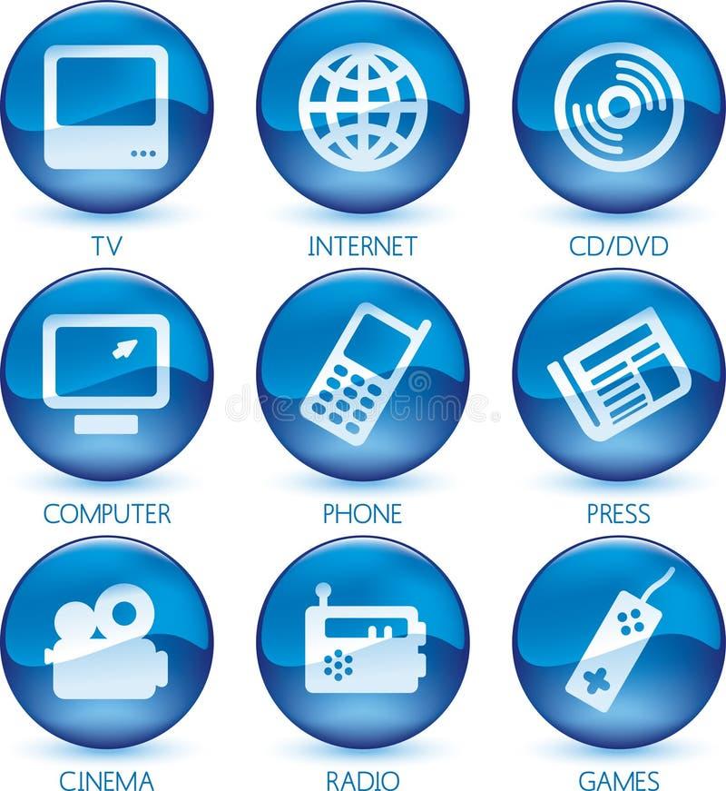 Azzurro stabilito dell'icona di multimedia (vettore) illustrazione vettoriale