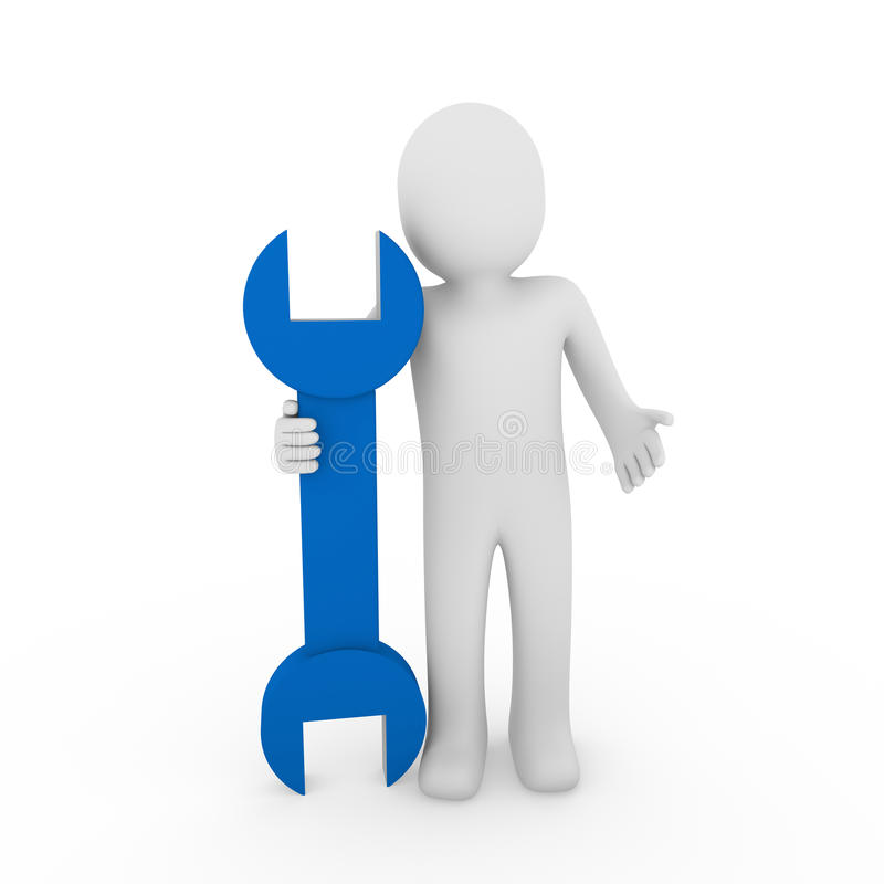 azzurro umano della chiave 3d illustrazione vettoriale