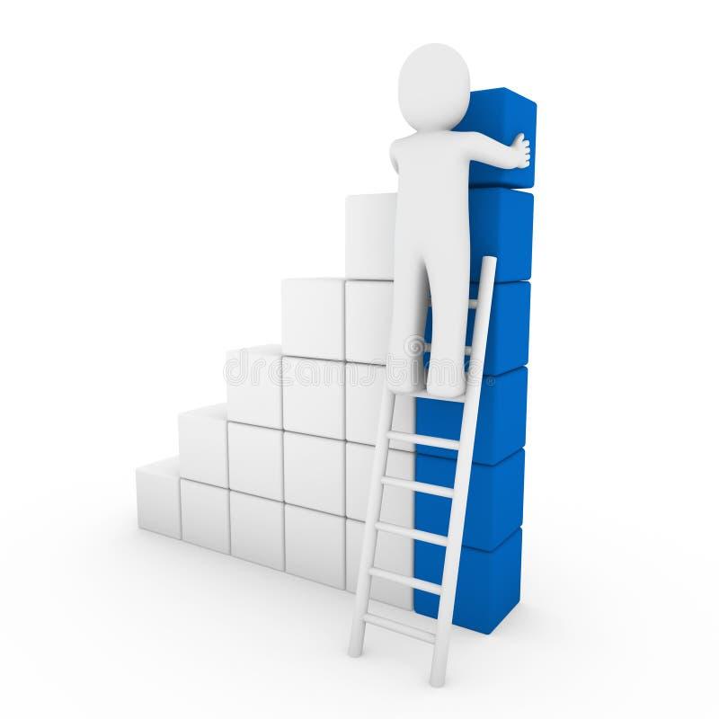azzurro umano della scaletta del cubo 3d illustrazione di stock