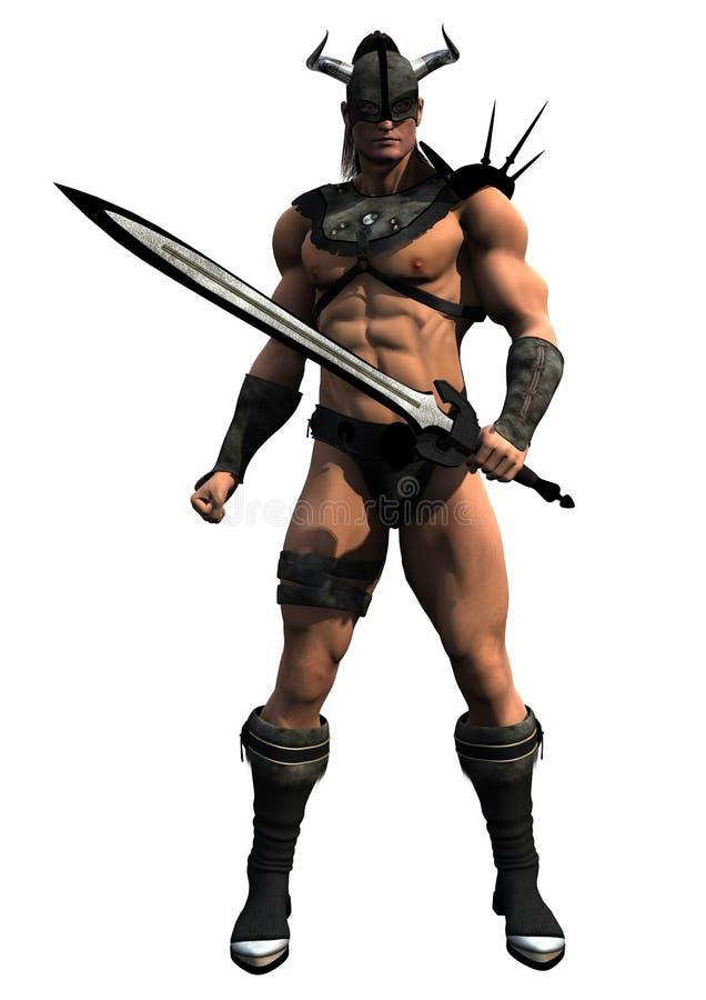 Bárbaro con la espada ilustración del vector