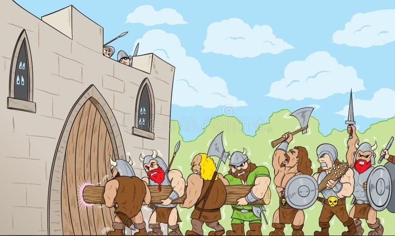 Bárbaros en la puerta ilustración del vector