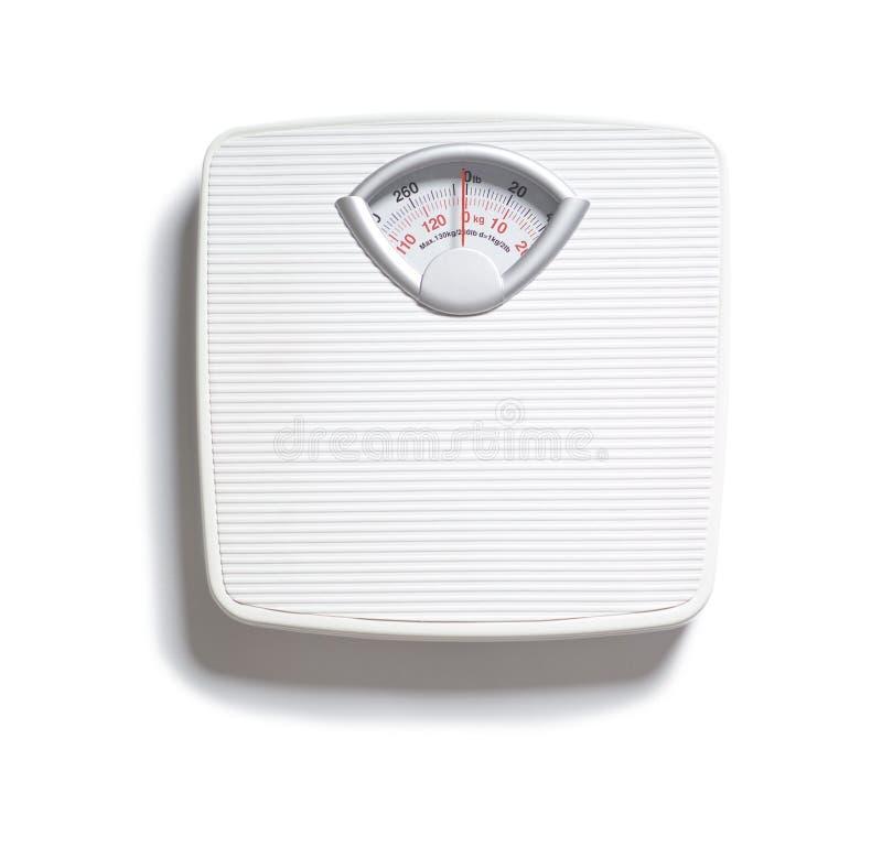 Báscula de baño de la dieta en blanco fotografía de archivo