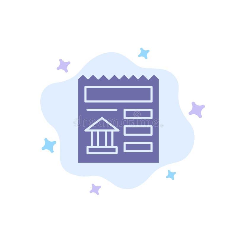 Básico, documento, Ui, ícone azul do banco no fundo abstrato da nuvem ilustração do vetor