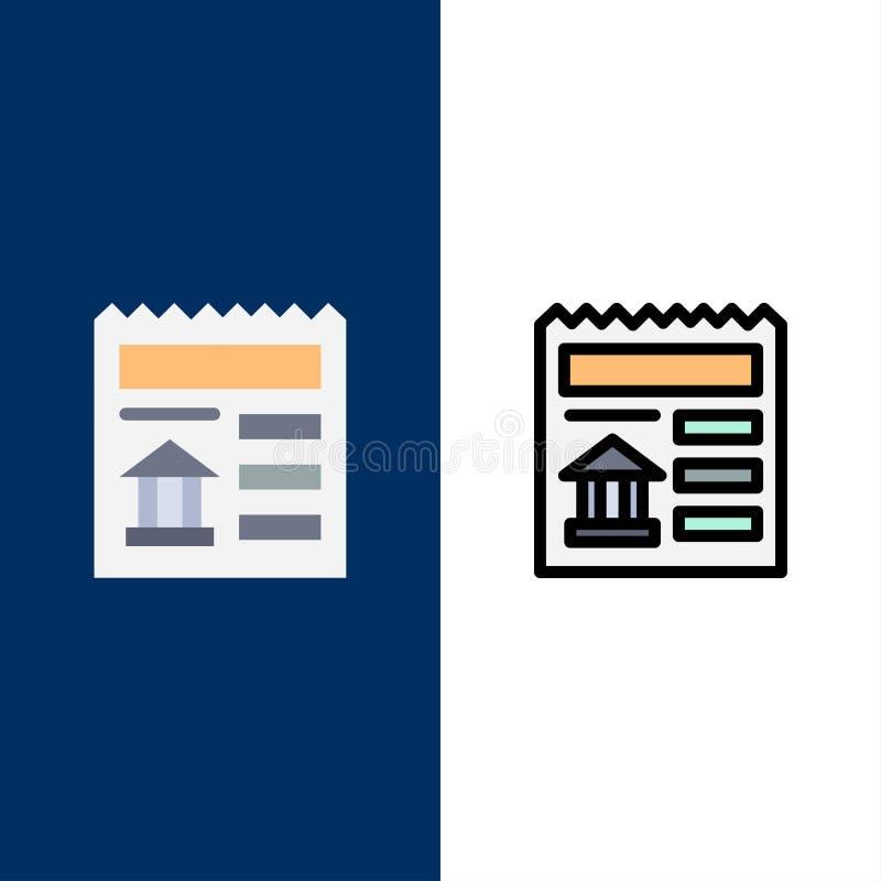 Básico, documento, Ui, ícones do banco O plano e a linha ícone enchido ajustaram o fundo azul do vetor ilustração stock