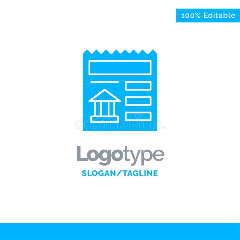 Básico, documento, Ui, banco Logo Template contínuo azul Lugar para o Tagline ilustração stock
