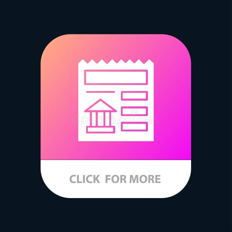Básico, documento, Ui, botão móvel do App do banco Android e do Glyph do IOS versão ilustração do vetor