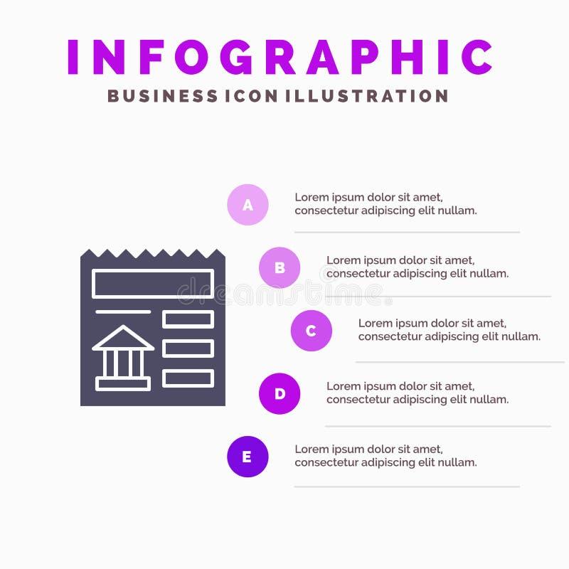 Básico, documento, Ui, fundo contínuo da apresentação das etapas de Infographics 5 do ícone do banco ilustração stock
